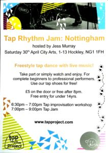 Flyer for Tap Rhythm event, Saturday 30 April 2016