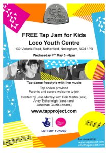 Flyer for the children's tap jam. For text, see blog.