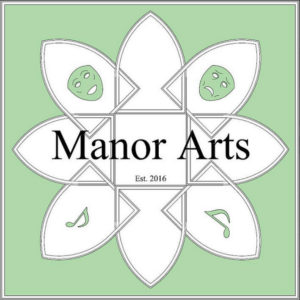 "The words ""Manor Arts"" appear over a logo of interocking shields, featuring drama masks and music notes, on a pale green background. In smaller letters it says ""Est. 2016"" (""est"" as in ""established"")."