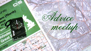 "The words ""Advice meetup"" appear in elegant cursive writing against a background photo of a map and compass. The map is of Nottingham."
