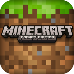 "Logo for ""Minecraft Pocket Edition"". The words are in a blocky font, against a background of blocks, in shades of green at the top and mostly brown underneath, as if representing grass above earth. The ""A"" of ""craft"" has a little face in the middle."