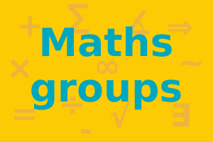 "Words say: ""Maths groups"" in a greenish blue. Background has a sprinkling of mathematical symbols in a darker orange on a lighter orange background."